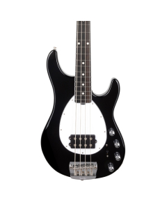 Sterling Bass - Black With Figured Roasted Maple Neck, Herring Bone Inlay
